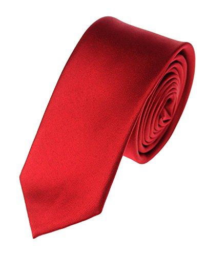 Modern Trendy Slim Polyester Men's Neckties Solid Neck Tie 22 Colors (Red)