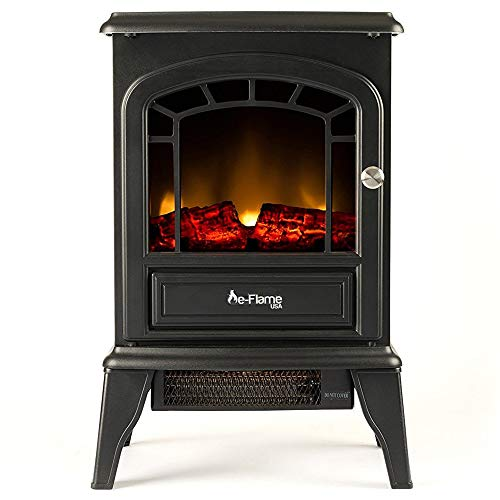 e-Flame USA Aspen Freestanding Electric Fireplace Stove - 3-D Log and Fire Effect (Black)