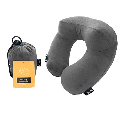 iconni M Pillow (Rest Easy) Premium Inflatable Travel Neck Pillow, Inflate with Pump, Washable Navy...