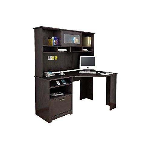 Bush Furniture Cabot Corner Desk with Hutch in Espresso Oak