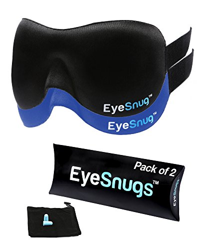 EyeSnugs - Sleep Mask - Contoured Sleep Mask with Ear Plugs and Carry Pouch - by TravelSnugs (Black)