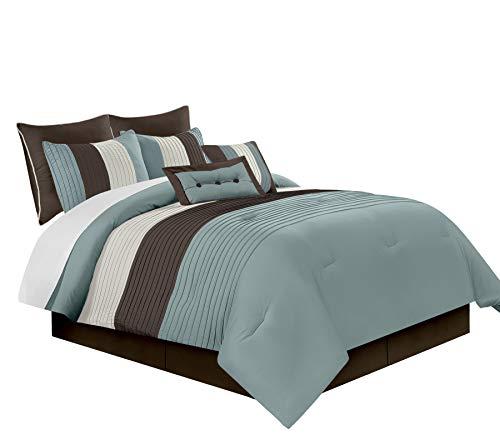Chezmoi Collection 8-Piece Luxury Striped Comforter Set (Blue/Brown/Beige, Queen)