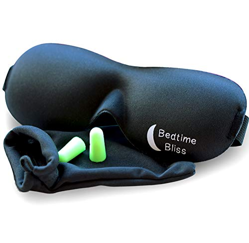 Sleep Mask by Bedtime Bliss - Contoured & Comfortable with Moldex Ear Plug Set. Includes Carry Pouch...