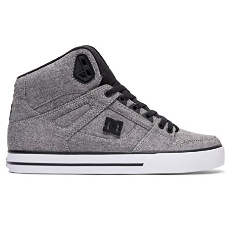DC Men's Spartan HIGH WC TX SE Skate Shoe, Black/Heather Grey, 6 D US