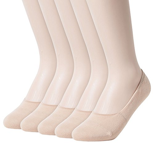 Sockstheway Womens Anti-Slip No Show Socks, Low Cut Liner Socks, Medium, Beige, 5 Pairs