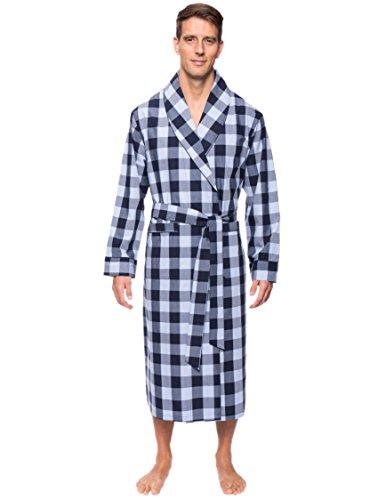 Noble Mount Men's Cotton Robe - Diamond Checks Black/Red - L/XL