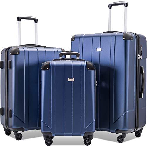 Merax Luggage Sets with TSA Locks, 3 Piece Lightweight P.E.T Luggage 20inch 24inch 28inch (Black)