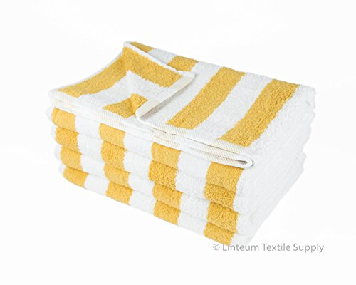 Linteum Textile 100% Cotton Beach Cabana Stripe Pool Towels 30x60 in. 4-Pack White with Blue Stripes