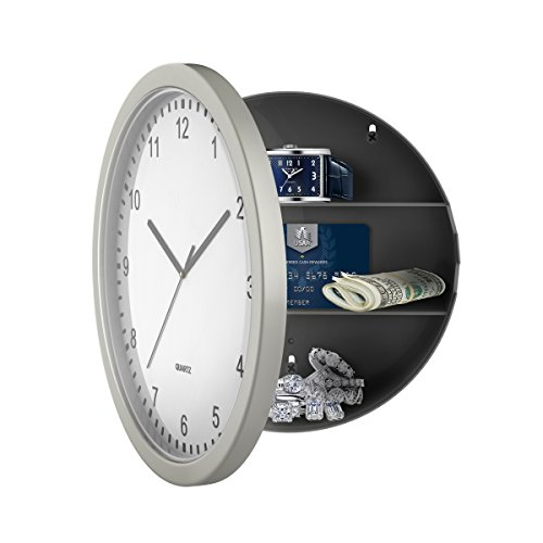"Stalwart 82-5894 Hidden Compartment Wall 10"" Battery Operated Working Analog Clock with Secret..."
