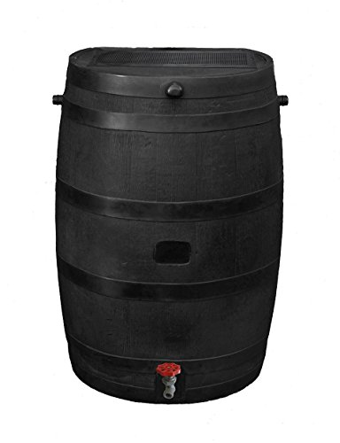 RTS Home Accents 50-Gallon ECO Rain Water Collection Barrel, Made with 100% Recycled Plastic and...