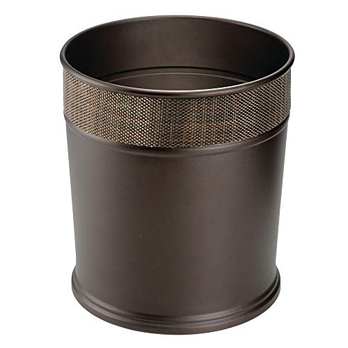 mDesign Decorative Round Small Trash Can Wastebasket, Garbage Container Bin for Bathrooms, Powder...