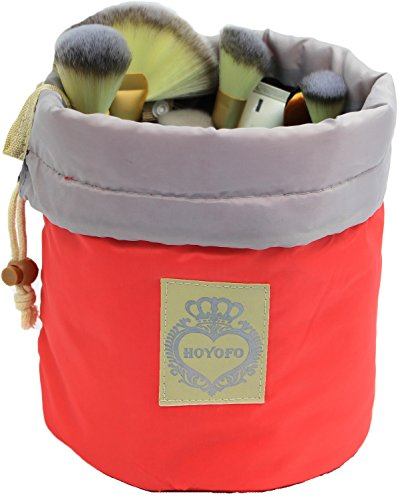 HOYOFO Drawstring Makeup Bags Travel Cosmetics Bag Brush Organizer Toiletry Kit Storage Pouch, Pink