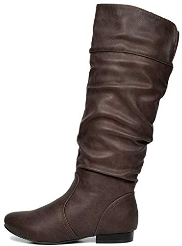 DREAM PAIRS Women's BLVD Brown Knee High Pull On Fall Weather Boots Wide Calf Size 7 M US