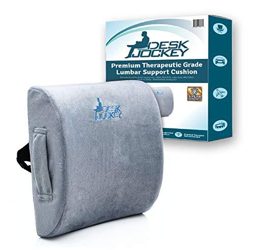 Desk Jockey Lumbar Pillow Support Cushion - Clinical Grade Memory Foam Orthopedic for Car Driving &...