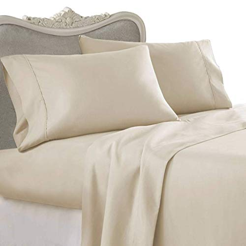 Unique Beddings Cotton Sateen Fitted Sheet (Queen, Grey) - Premium Quality Combed Cotton Long Staple...