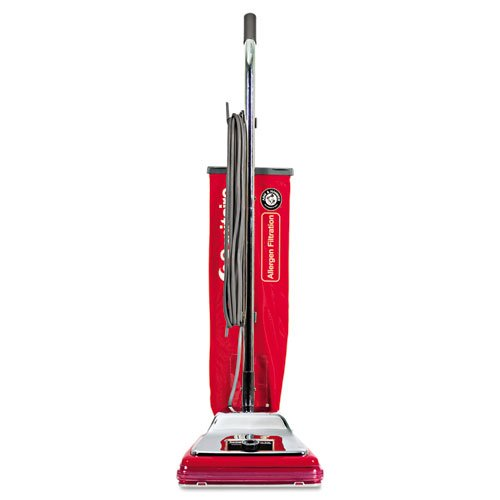 Electrolux Sanitaire Heavy-Duty Commercial Upright Vacuum, Micron Filtration, 18 lbs, Chrome/Red -...