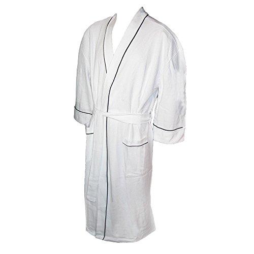 Majestic International Men's Waffle-Knit Kimono Spa Robe