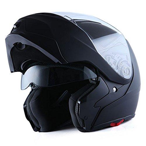 1Storm Motorcycle Street Bike Modular/Flip up Dual Visor/Sun Shield Full Face Helmet (MattBlack,...