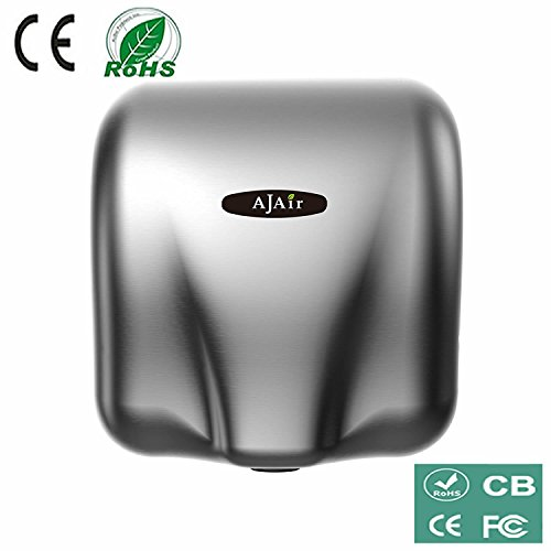 AjAir Heavy Duty Commercial 1800 Watts High Speed Automatic Hot Hand Dryer - Stainless Steel