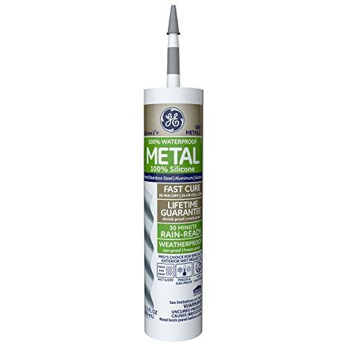 GE GE5050 Silicone 2+ Metal Sealant Caulk, 10.1oz, Metallic Grey