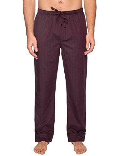 Noble Mount Mens Pajama Pants - Cotton Mens Lounge Pants - Burgundy-Navy Plaid - Medium