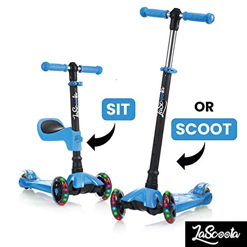 Lascoota 2-in-1 Kick Scooter with Removable Seat Great for Kids & Toddlers Girls or Boys –...