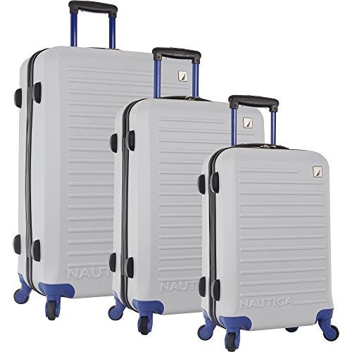 Nautica 3 Piece Hardside 4-Wheeled Luggage Set, Silver/Black/Empire Yellow