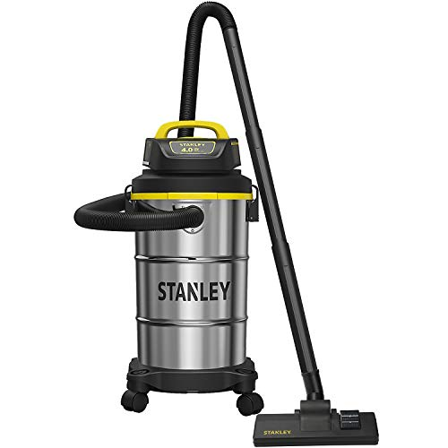 Stanley Wet/Dry Vacuum, 5 Gallon, 4 Horsepower, Stainless Steel Tank - Silver+yellow+black - SL18130