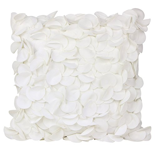 puredown Plush Pillow Shell Sofa Cushion Covers Handmade Petals Square 18X18 inch White