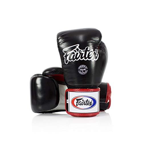 Fairtex Muay Thai-Style Sparring Glove (Black/White, 12 oz)