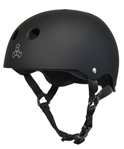 Triple Eight Sweatsaver Liner Skateboarding Helmet, All Black Rubber, Large
