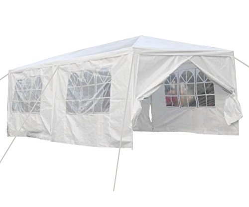 Qisan Canopy Tent Carport 10 X 20-feet Party Wedding Tent with sidewalls, White for Party/Commercial...