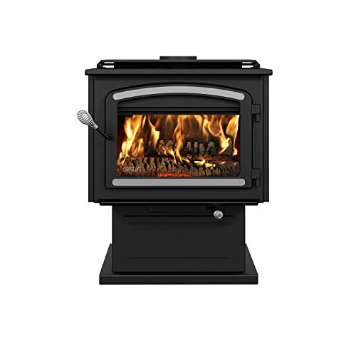 Drolet Escape 2100 Extra Large 2020 EPA Certified Wood Stove with Brushed Nickel Trims - 110,000 BTU...