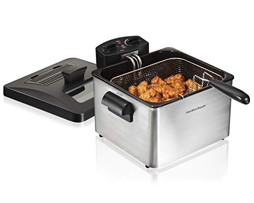 Hamilton Beach Triple Basket Electric Deep Fryer, 19 Cups / 4.5 Liters Oil Capacity, Lid with View...