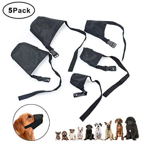 Idepet 1SET Dog Muzzles Suit,5PCS Adjustable Dog Mouth Cover Anti-Biting Barking Muzzles for Small...