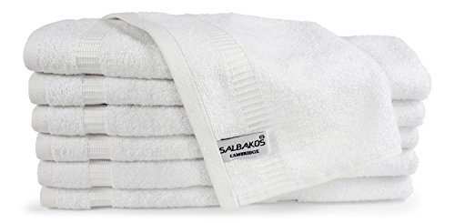 SALBAKOS Turkish Cotton Hotel & Spa Washcloths, 13 by 13 Inch, Pack of 12, White
