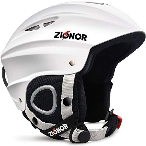 ZIONOR Lagopus H1 Ski Snowboard Helmet for Men Women - Air Flow Control Adjustable Fit White (Large)