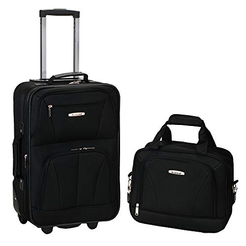 Rockland Fashion Softside Upright Luggage Set, Black, 2-Piece (14/19)