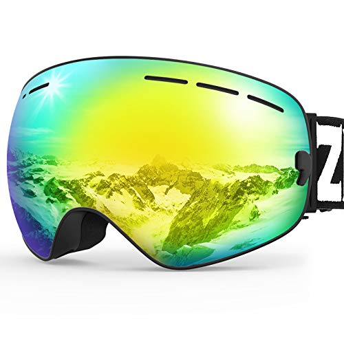 ZIONOR X Ski Snowboard Snow Goggles OTG Design for Men Women with Spherical Detachable Lens UV...