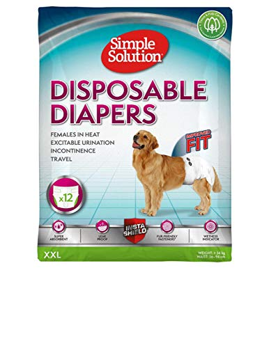 Simple Solution Disposable Dog Diapers for Female Dogs | Super Absorbent Leak-Proof Fit | XL | 12...
