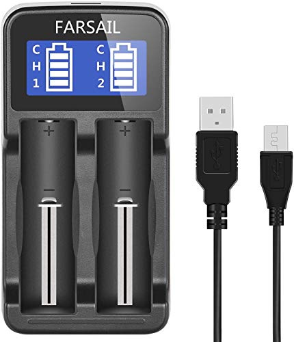 18650 Battery Charger, FARSAIL Rechargeable Battery Charger Compatible with 3.7V Lithium ion 18650...