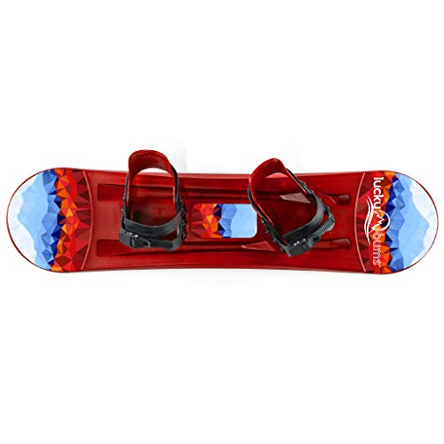 Lucky Bums Kids Beginner Plastic Snowboard, 120cm, Red