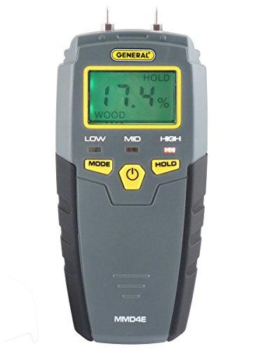 General Tools MMD4E Digital Moisture Meter, Water Leak Detector, Moisture Tester, Pin Type, Backlit...