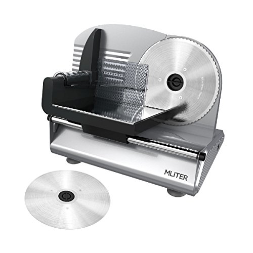 MLITER Electric Food & Meat Slicer Machine with 2 Blades - Serrated & Non-serrated Stainless Steel...