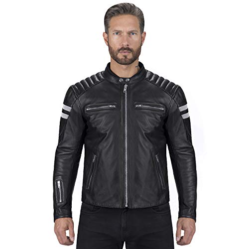 Viking Cycle Leather Motorcycle Jacket for Men – Biker BloodAxe Armor Protection (Small)
