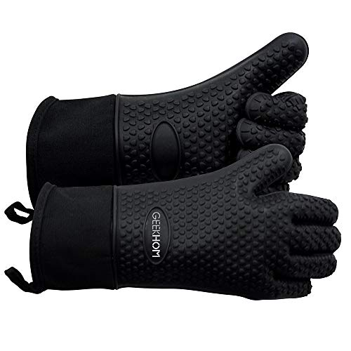 GEEKHOM Grilling Gloves, Heat Resistant Gloves BBQ Kitchen Silicone Oven Mitts, Long Waterproof...