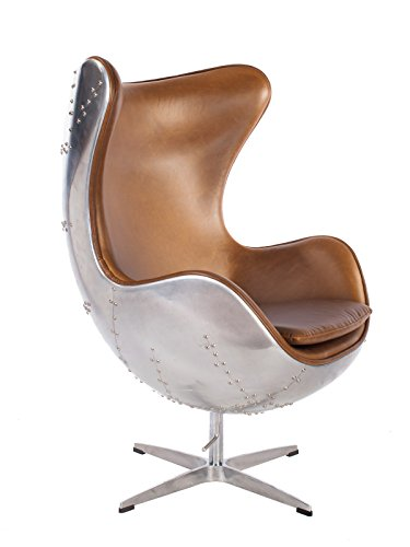 Hand-Hammered Aviator Aluminum Mid Century Modern Classic Arne Jacobsen Style Egg Replica Lounge...