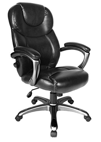 Comfort Products Granton Leather Executive Chair with Adjustable Lumbar Support, Brown