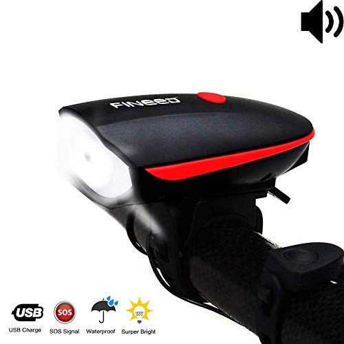 fineed Bike Light Front Bicycle Horn Set,250 Lumen LED Bike Light,USB Rechargeable Bike...