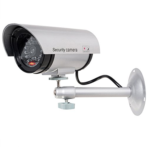 WALI Bullet Dummy Fake Surveillance Security CCTV Dome Camera Indoor Outdoor with 1 LED Light,...